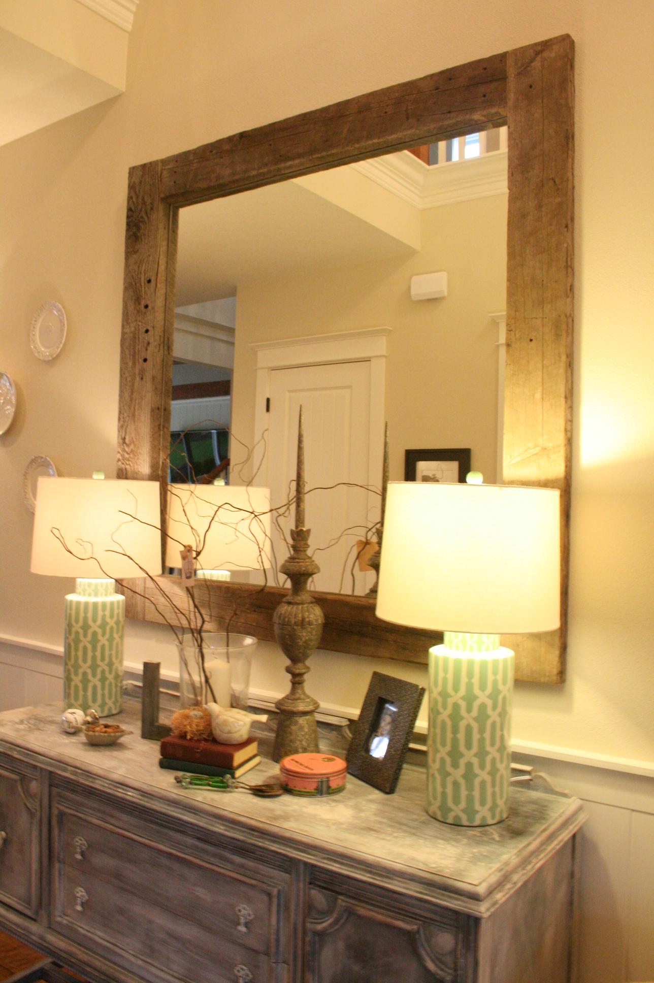 Barn Wood Mirror Rustic Home Decor: DIY Barn Wood Mirror, Wood TV Frame, Whitewash Walls